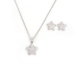گوشواره و آویز نقره طرح ستاره