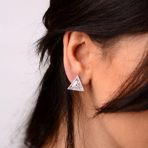 گوشواره نقره طرح مثلث