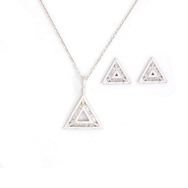 گوشواره و آویز نقره طرح مثلث