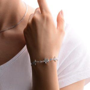 دستبند گل تک نقره