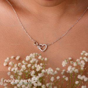 گردنبند قلب عشق و بینهایت دوستت دارم نقره با عیار 925