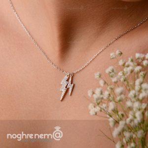 گردنبند رعد آسا نقره با زنجیر نقره عیار 925