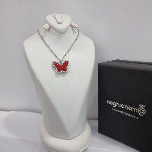 گردنبند پروانه نقره بهاری قرمز