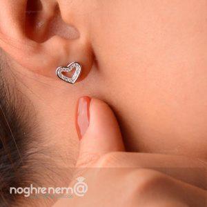گوشواره قلب به همراه زنجیر وپلاک نقره