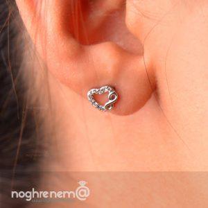 گوشواره بی نهایت نقره میخی به همراه گردنبند
