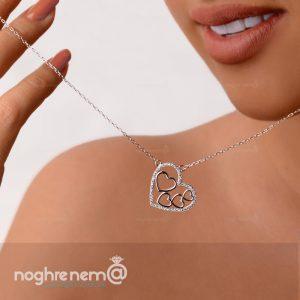 گردنبند قلب زنانه نقره مناسب برای کادو تولد و ولنتاین